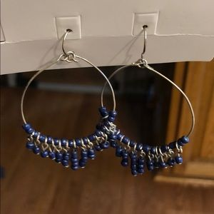 Navy blue beaded hoop earrings